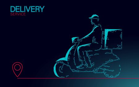 Scooter delivery box courier. Ride road food shipping mobile app order. Package quarantine thermal bag backpack dinner meal. Fast delivery concept vector illustration