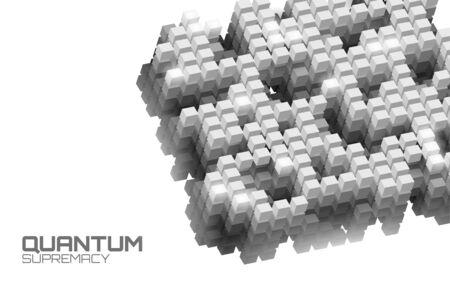 Quantum supremacy high performance computer. Modern technology fast computing web system server. Online connection fast solve problem supercomputer vector illustration Vektoros illusztráció