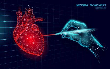 Healthy human heart beats 3d medicine model low poly. Laser surgery online operation. Internal body modern anatomical shape innovative technology render vector illustration Ilustración de vector