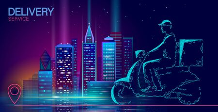 Scooter city delivery box. Walk road neon lights food shipping mobile app order. Package quarantine thermal bag backpack dinner meal. Fast delivery concept vector illustration