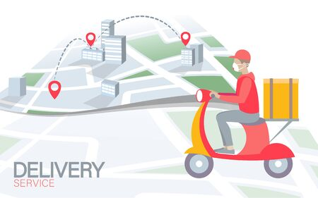Scooter city delivery box. Walk road white light food shipping mobile app order. Package quarantine thermal bag backpack dinner meal. Fast delivery concept vector illustration