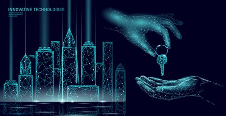 New building quarter residential complex. Seller house door keys. Finance agreement sale real estate apartment home access. Sell own family customer life business concept vector illustration