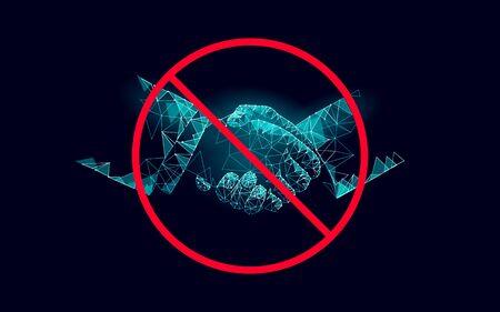 Stop coronavirus handshake 3D low poly render. Prevention infection virus influenza flu pneumonia. Avoid distance technology medicine vector illustration