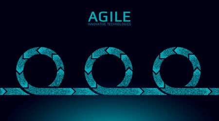 Agile development project lifecycle. Test system strategy concept. Circle arrow symbol low poly flexible planing. Team work vector illustration.