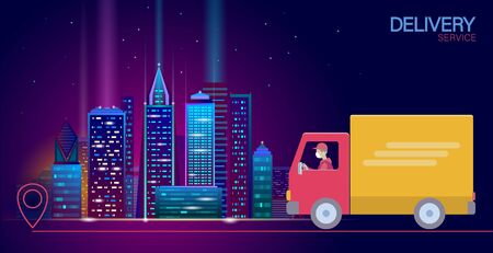 3D map point location delivery worldwide truck car. Shipping online shopping direction city vector illustration