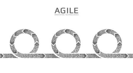 Agile development project lifecycle. Test system strategy concept. Circle arrow symbol low poly flexible planing. Vector illustration
