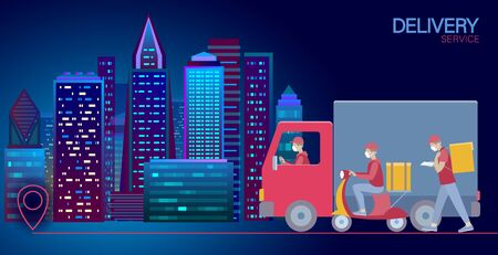 Delivery set cartoon shipping car truck walking courier. Scooter service address safety masks. Coronavirus contactless distance flat vector illustration