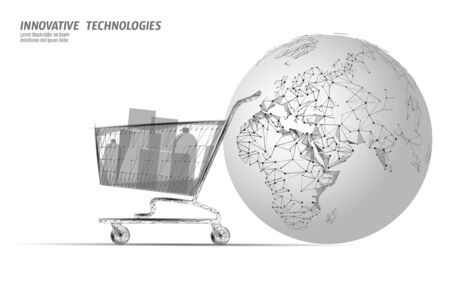 Shopping cart world map low poly design 3D. Online shop worldwide delivery sale vector illustration  イラスト・ベクター素材