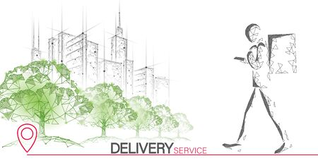 Walking city delivery box. Walk road neon lights food shipping mobile app order. Package quarantine thermal bag backpack dinner meal. Fast delivery concept vector illustration.  イラスト・ベクター素材