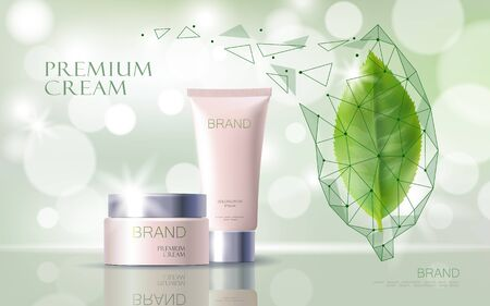 Green tea essential organic extract. Cosmetics skin care supplement. Health medicine vitamin poster template. Innovative technology green 3D realistic leaf glowing brand package vector illustration. Illustration
