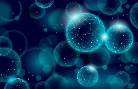 3D nanotechnology fullerene texture cyberspace. Nano fiber chemical modern material design. Atom molecule macro structure layer superconductor development vector illustration
