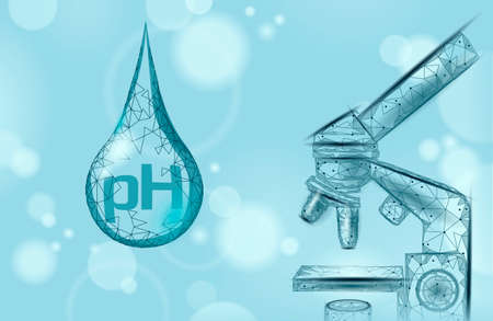 Water pH laboratory analysis chemistry science technology. School research education microscope lab data potential test. Medicine health concept vector illustration.