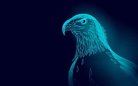 Eagle sitting bird profile. American national symbol. Low poly blue polygonal economic politics concept vector illustration Illustration