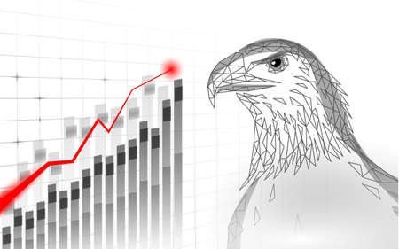 Eagle sitting bird profile. American national symbol. Low poly blue polygonal economic growing graphic trend politics concept vector illustration