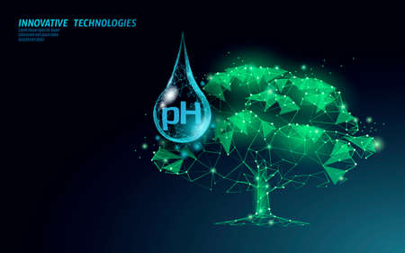 3D low poly plant pH watering concept. Soil acidity fertilizers industrial horticulture. Ecology environment problem solution analysis vector illustration Ilustración de vector