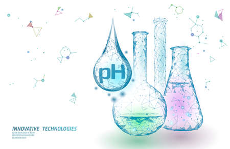 Water pH laboratory analysis chemistry science technology. School research education microscope lab data potential test. Medicine health concept vector illustration