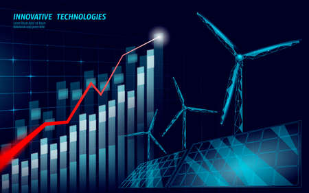 Growing graph windmills idea business concept. Ecology save environment wind green energy sustainable power. Eco global planet solution. 3D triangle  illustration