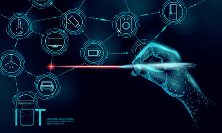 Internet of things modern operation innovation technology concept. Wireless communication augmented reality network IOT ICT. Home intelligent system automation vector illustration