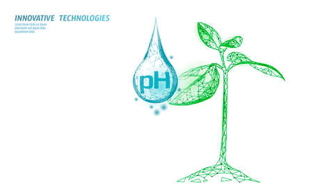 Water pH laboratory analysis chemistry science technology. Plants ecological problem lab data test. Medicine health solution concept vector illustration