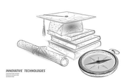 Compass graduation cap education. E-learning distance concept. Graduate certificate international global program concept. Low poly 3D internet education course vector illustration