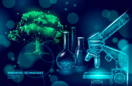 Innovation biological eco education school. E-learning distance concept. Graduate certificate program concept. Low poly 3D internet education vector illustration