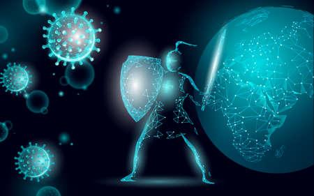 Planet Earth pandemic. Health safety pneumonia treatment shield coronavirus. Asia continent virus protection vaccine development research vector illustration