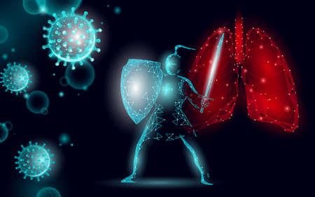 Knight power shield safety sword. Health safety pneumonia treatment shield coronavirus. Asia continent virus protection vaccine development research vector illustration
