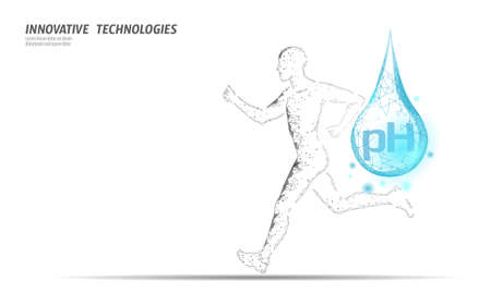 Water aqua pH jogger rehydration concept. Health care against dehydration isotonic electrolytes drink. Runner sportsman low poly 3D vector illustration Illustration