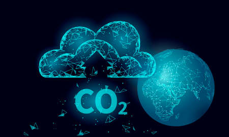 Carbon dioxide CO2 ecology problem eco concept. Renewable organic gas 3D render. Science biofuel chemistry biotechnology polygonal climatic greenhouse effect technology vector illustration