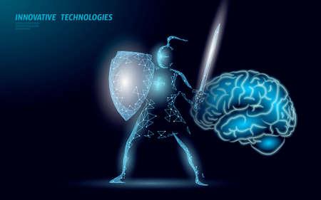 Brain treatment protection knight 3D render. Drug nootropic human ability stimulant smart mental health. Medicine cognitive rehabilitation in Alzheimer disease and dementia patient vector illustration