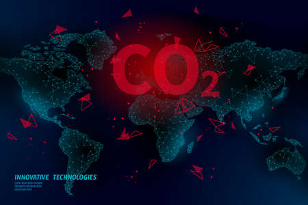 Carbon dioxide on map CO2 ecology problem eco concept. Renewable organic 3D render. Science biofuel chemistry biotechnology polygonal climatic greenhouse effect technology vector illustration