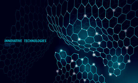 3D nanotechnololy graphene texture cyberspace. Nano fiber chemical modern material design. Atom molecule macro structure layer superconductor development vector illustration
