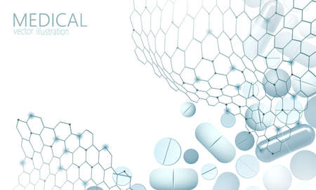 Drug capsule medicine business concept. Banner blue glowing medicament pill prebiotic probiotic ball health care cure illness. Antibiotic vitamin medical nutrition low poly vector illustration