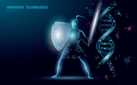 Gene therapy DNA 3D chemical molecule structure low poly. Polygonal triangle point line healthy cell part. Innovation blue medicine genome engineering vector illustration future business technology Ilustrace