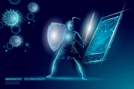 Phone service repair help business concept. Fatal mobile smartphone system crash. Software error bug data lost. 3D virus attack information security alert vector illustration
