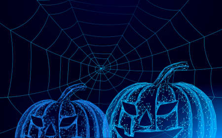 Halloween 3D pumpkin Jack bats and spider. Geek holiday party scary flyer. Low poly geometric polygon triangle design. Halloween creepy spooky card template vector illustration