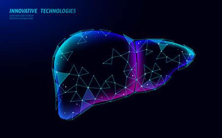 3D medicine liver medical treatment. Hepatitis warning medical therapy digestive protect drug concept. Low poly vector illustration. 矢量图像