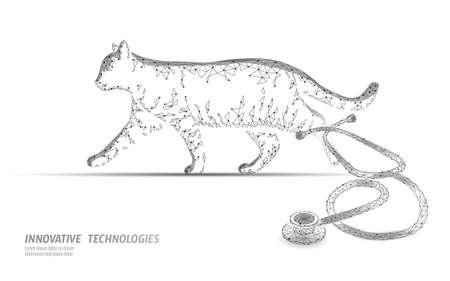 Cat silhouette veterinary clinic banner template. Analysis stethoscope virus infection. Vet care medical help. Vet hospital doctor online logo vector illustration