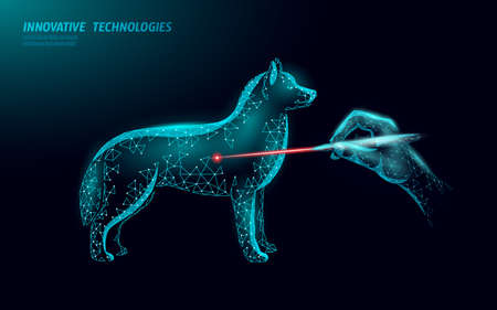 Low poly polygonal 3D dog silhouette laser doctor companion.