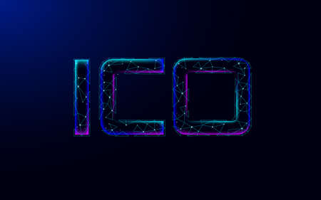 Initial coin offering ICO letters technology concept. Business finance economy low poly design style. Currency crypto banking online offer. Internet commerce block chain vector illustration