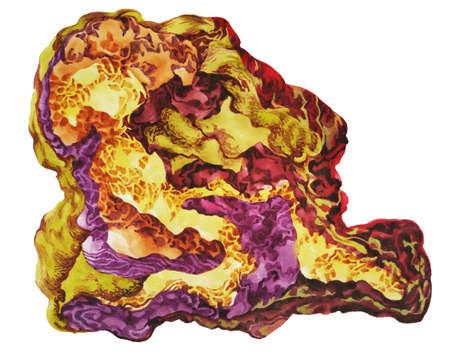 Watercolor gemstones texture. Golden jewel stones. Texture luxury bright metal. Print hand drawn background template Imagens