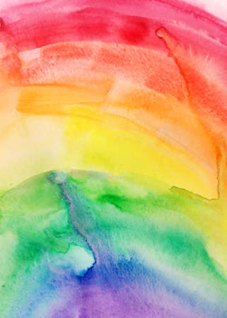 Watercolor rainbow sky background. Texture brush paint drawing. Artistic colorful vibrant fabric design. Kids textile happiness concept bright color illustration