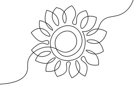 One line sunflower element. Black and white monochrome continuous single line art. Floral nature Woman day gift romantic date illustration sketch outline drawing Illusztráció