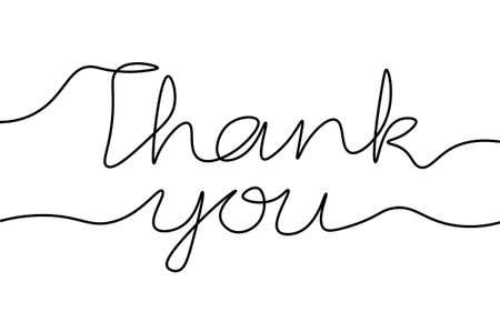 Continuous one single line art Thank you concept. Greeting card lettering date hand drawn sketch. Sign letters script font white monochrome vector illustration Illusztráció