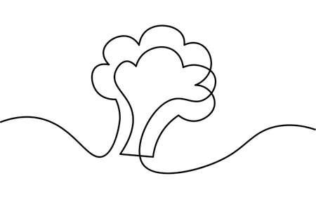 One line broccoli stem. Black and white monochrome continuous single line art. Vegan nature organic farm market illustration sketch outline drawing