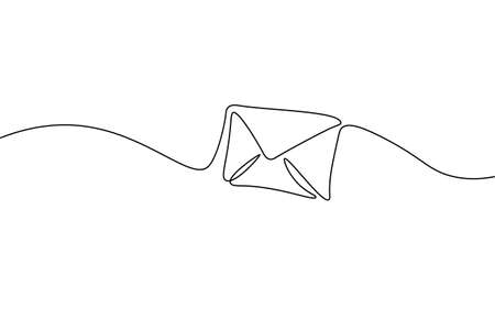 One line paper envelope. Black and white monochrome continuous single line art. Email message post letter send illustration sketch outline drawing Stock fotó - 165043582