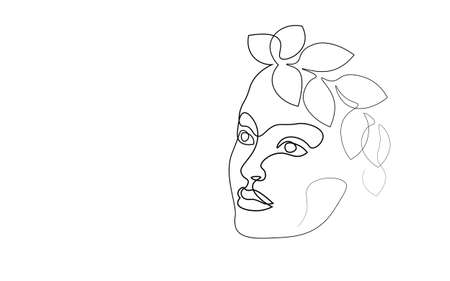 Continuous one single line art girl face concept. Beautiful woman portrait fashion hair hand drawn sketch. Beauty happy smiling young lady side head black white monochrome vector illustration Ilustrace