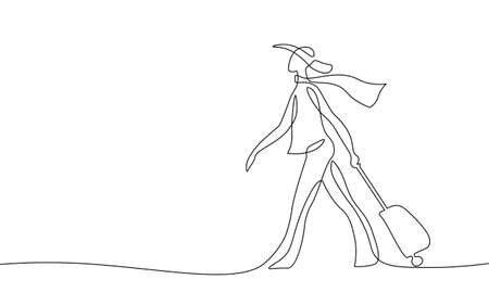 Continuous one single line art travel girl concept. Beautiful woman fashion tourist hand drawn sketch. Summer voyage agency white monochrome vector illustration  イラスト・ベクター素材