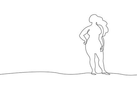 Continuous one single line art curvy girl concept. Beautiful woman body positive drawing sketch. Beauty plus size shape black white monochrome vector illustration