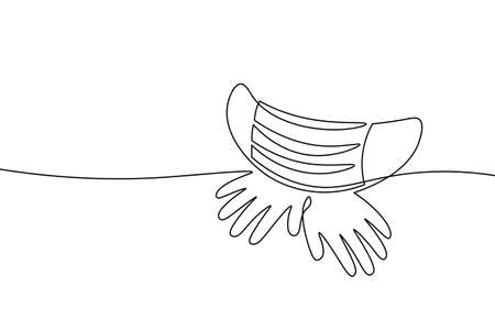 Continuous one single line art safety mask concept. Pandemic COVID coronavirus safe hand drawn sketch. Gloves mask epidemia pneumonia allergy white monochrome vector illustration Ilustración de vector